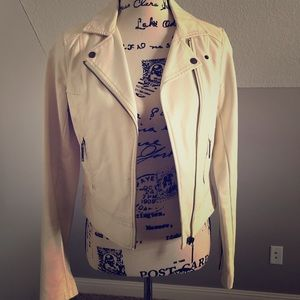 Faux leather cream jacket